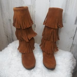 Minnetonka Suede Fringe Mocassin Boots Size 6